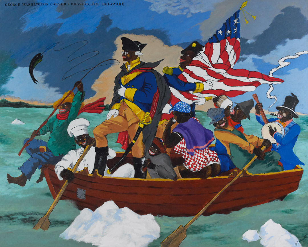 George Washington Carver Crossing the Delaware: Page From an American History Textbook by Robert Colescott